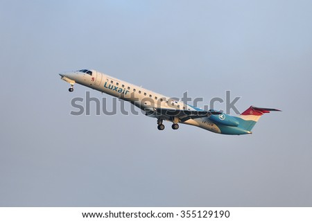 FRANKFURT,GERMANY-SEPT 24:airplane of Luxair above the Frankfurt airport on September 24,2015 in Frankfurt,Germany.Luxair is the national airline of Luxembourg.