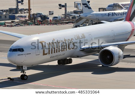 FRANKFURT,GERMANY-SEPT 08:Boeing 777 of Emirates  Airlines in the Ftankfurt airport on September 08,2016 in Frankfurt,Germany.Emirates is an airline of the United Arab Emirates, based in Dubai.