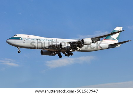 FRANKFURT,GERMANY-SEPT 29: Cathay Pacific Cargo Boeing 747-867F approaching airport on September 29,2016 in Frankfurt,Germany.Cathay Pacific Airlines is the flag carrier of Hong Kong.
