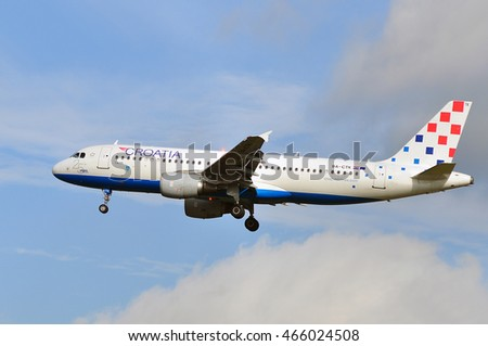 FRANKFURT,GERMANY-SEPT 24:Croatia Airlines Airbus A320 above the Frankfurt airport on September 24,2015 in Frankfurt,Germany.Croatia Airlines Ltd. is the state-owned flag carrier of Croatia.