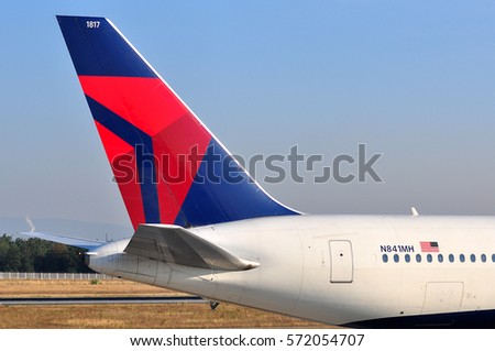 FRANKFURT,GERMANY-SEPT 08:Delta Air Lines Boeing 767  lands at airport on September 08,2016 in Frankfurt,Germany.Delta Air Lines, Inc. is a major American airline in Atlanta, Georgia.