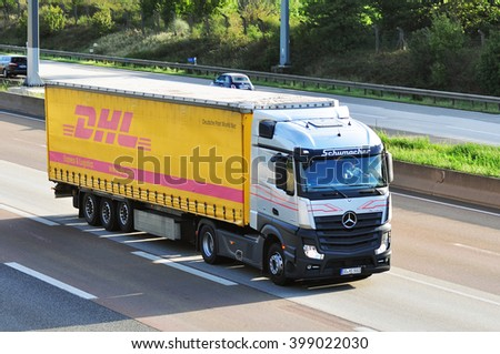 FRANKFURT,GERMANY - SEPT 24: DHL truck on the highway on September 24,2015 in Frankfurt, Germany.
