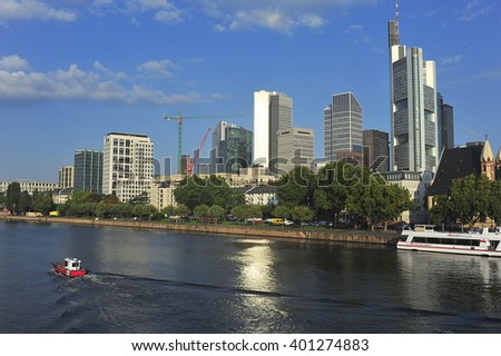 FRANKFURT,GERMANY-SEPT 11:Frankfurt's Skyline by Main River on September 11,2015 in Frankfurt,Germany. Frankfurt is the financial center of Germany. Frankfurt is the financial center of Germany.