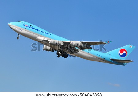 FRANKFURT,GERMANY-SEPT 29: KOREAN AIR CARGO Boeing 747 approaching Frankfurt airport on September 29,2016 in Frankfurt,Germany.Korean Air is the largest airline in South Korea,located in Seoul.