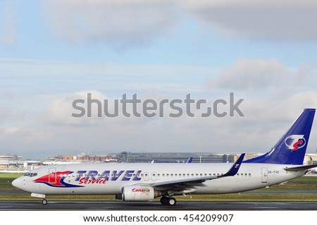 FRANKFURT,GERMANY-SEPT 24:Travel Service Boeing 737 in the Frankfurt airport on September 24,2015 in Frankfurt,Germany Travel Service- Czech charter airline, biggest airline in the Czech Republic