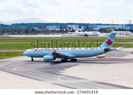 FRANKFURT, GERMANY - September 25, 2015: Air Canada plane seen parked at the tarmac of  Frankfurt International Airport