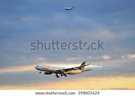 FRANKFURT,GERMANY-SEPTEMBER 04:airplane of Lufthansa above the Frankfurt airport on September 04,2015 in Frankfurt,Germany.Lufthansa is a German airline and also the largest airline in Europe.