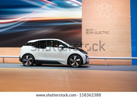 FRANKFURT, GERMANY - SEPTEMBER 11: Frankfurt international motor show (IAA) 2013. BMW i3 is the worlds first premium all-electric car - world premiere - stock photo