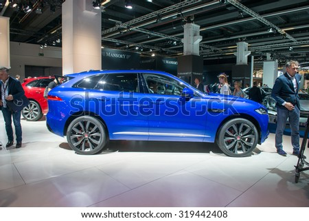 FRANKFURT, GERMANY - SEPTEMBER 16, 2015: Frankfurt international motor show (IAA) 2015. Jaguar F-PACE - world premiere.