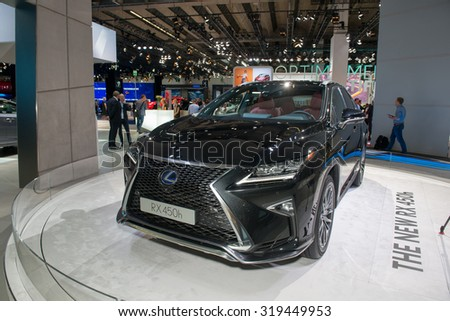 FRANKFURT, GERMANY - SEPTEMBER 16, 2015: Frankfurt international motor show (IAA) 2015. Lexus RX 450H - European premiere.