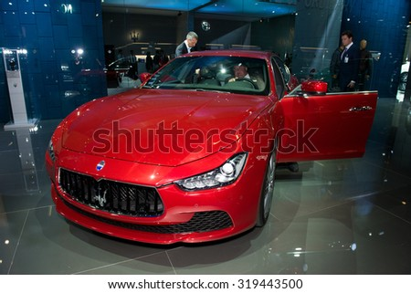 FRANKFURT, GERMANY - SEPTEMBER 16, 2015: Frankfurt international motor show (IAA) 2015. Maserati Ghibli