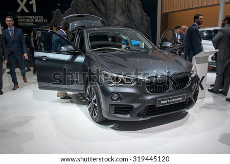 FRANKFURT, GERMANY - SEPTEMBER 16, 2015: Frankfurt international motor show (IAA) 2015. New BMW X1 - world premiere.
