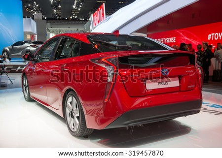 FRANKFURT, GERMANY - SEPTEMBER 16, 2015: Frankfurt international motor show (IAA) 2015. Toyota Prius - world premiere. - stock photo