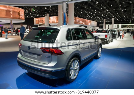 FRANKFURT, GERMANY - SEPTEMBER 16, 2015: Frankfurt international motor show (IAA) 2015. Volkswagen Tiguan new - world premiere.