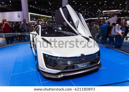 FRANKFURT, GERMANY - SEPTEMBER 23, 2015: Frankfurt international motor show (IAA) 2015. Volkswagen Golf GTE Sport