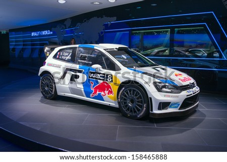 FRANKFURT, GERMANY - SEPTEMBER 11: Frankfurt international motor show (IAA) 2013.  Volkswagen WRC racing car - stock photo