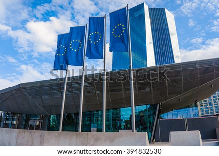 FRANKFURT, GERMANY - SEPTEMBER 19 2015 : New headquarters of European Central Bank - stock photo