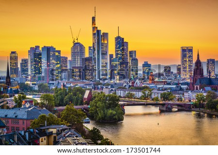 Frankfurt, Germany Skyline - stock photo