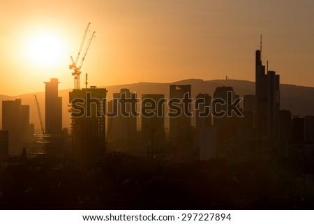 frankfurt germany sundown skyline - stock photo