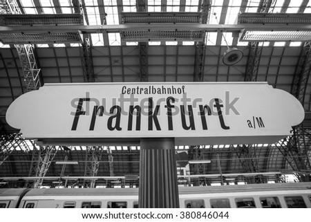 frankfurt germany train station sign - stock photo