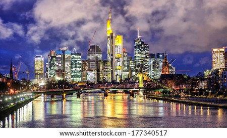 Frankfurt, Germany, view over the Main river to financial district