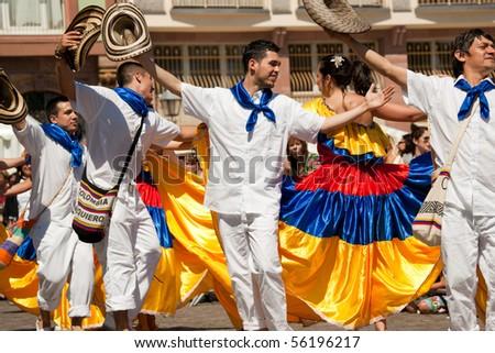FRANKFURT - JUNE 26. Colombian traditional dance at the Parade der Kulturen. June 26, 2010 in Frankfurt, Germany. - stock photo