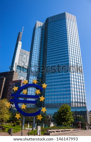 FRANKFURT - MAY 5: The Famous Big Euro Sign at the European Central Bank on May 5, 2013 in Frankfurt, Germany. The bank was established by the Treaty of Amsterdam in 1998;