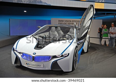 FRANKFURT - SEP 20: BMW Concept Car Vision Efficient Dynamics on 63rd IAA (Internationale Automobil Ausstellung) on September 20 - stock photo