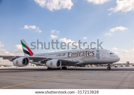 FRANKFURT - SEP 11: Emirates Airline Airbus A380-800 at the Frankfurt International Airport. September 11, 2015 in Frankfurt, Germany