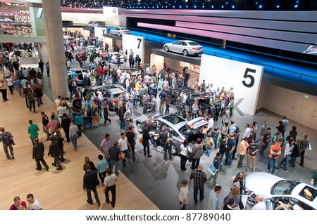 FRANKFURT - SEP 25:General view of the 64th Internationale Automobil Ausstellung (IAA) on September 25, 2011 in Frankfurt, Germany. - stock photo