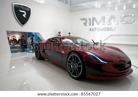 FRANKFURT - SEP 25:  Rimac Concept One Full Electric Car With 1088 HP presented at the 64th Internationale Automobil Ausstellung (IAA) on September 25, 2011 in Frankfurt, Germany.