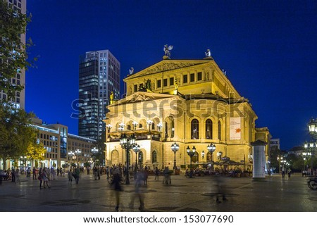 FRANKFURT - SEPT 5: Alte Oper at night on September 5, 2013 in Frankfurt, Germany. Alte Oper is a concert hall built in the 1970s on the site of and resembling the old Opera House destroyed in WWII.