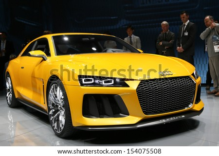 FRANKFURT - SEPT 10: Audi Quattro Concept shown at the 65th IAA (Internationale Automobil Ausstellung) on September 10, 2013 in Frankfurt, Germany. - stock photo