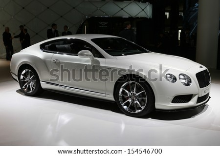 FRANKFURT - SEPT 10: Bentley GT V8 shown at the 65th IAA (Internationale Automobil Ausstellung) on September 10, 2013 in Frankfurt, Germany. - stock photo