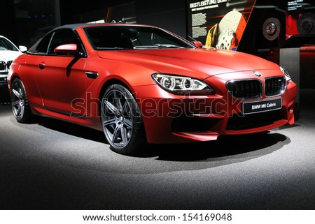 FRANKFURT - SEPT 10: BMW M6 Cabrio shown at the 65th IAA (Internationale Automobil Ausstellung) on September 10, 2013 in Frankfurt, Germany. - stock photo