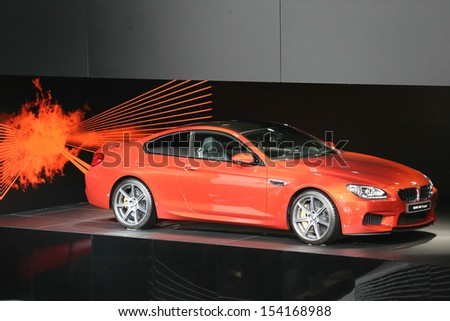 FRANKFURT - SEPT 10: BMW M6 Coupe shown at the 65th IAA (Internationale Automobil Ausstellung) on September 10, 2013 in Frankfurt, Germany. - stock photo