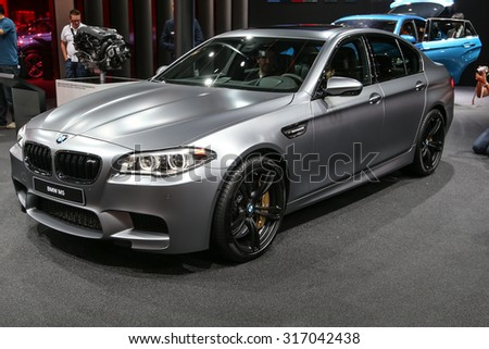 FRANKFURT - SEPT 15: BMW M5 shown at the 66th IAA (Internationale Automobil Ausstellung) on September 15, 2015 in Frankfurt, Germany. - stock photo