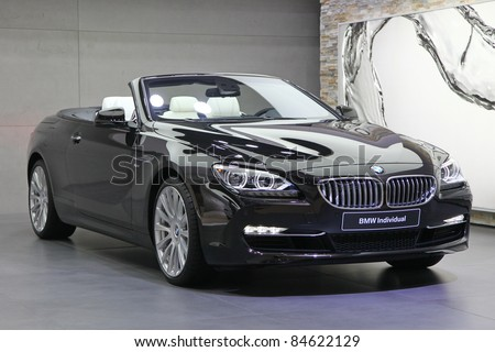 FRANKFURT - SEPT 13: BMW presented the BMW 6er Cabrio Individual at the 64th IAA (Internationale Automobil Ausstellung) on September 13, 2011 in Frankfurt, Germany - stock photo