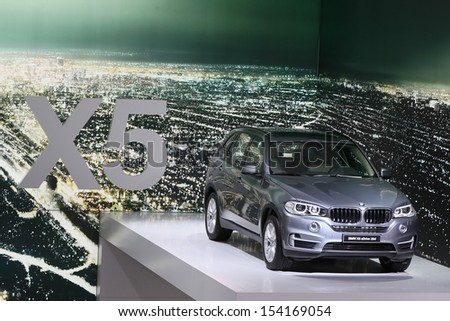 FRANKFURT - SEPT 10: BMW X5 sDrive 25d shown at the 65th IAA (Internationale Automobil Ausstellung) on September 10, 2013 in Frankfurt, Germany. - stock photo