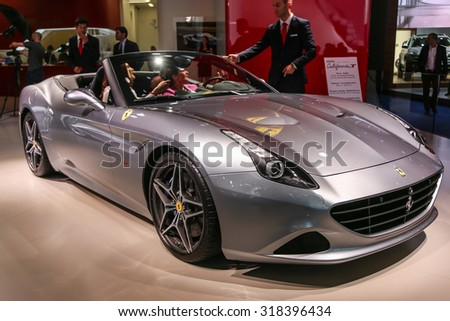 FRANKFURT - SEPT 16: Ferrari California T shown at the 66th IAA (Internationale Automobil Ausstellung) on September 16, 2015 in Frankfurt, Germany. - stock photo