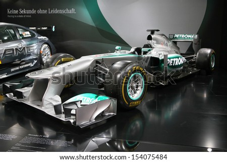 FRANKFURT - SEPT 10: Formula 1 Car Mercedes F1 W04 shown at the 65th IAA (Internationale Automobil Ausstellung) on September 10, 2013 in Frankfurt, Germany. - stock photo