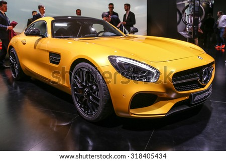 FRANKFURT - SEPT 15: Mercedes AMG GT S shown at the 66th IAA (Internationale Automobil Ausstellung) on September 15, 2015 in Frankfurt, Germany. - stock photo