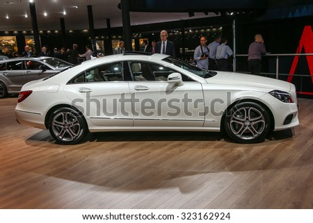 FRANKFURT - SEPT 16: Mercedes Benz CLS 400 Coupe shown at the 66th IAA (Internationale Automobil Ausstellung) on September 16, 2015 in Frankfurt, Germany. - stock photo