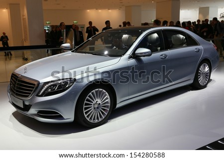 FRANKFURT - SEPT 10: Mercedes-Benz S-Class shown at the 65th IAA (Internationale Automobil Ausstellung) on September 10, 2013 in Frankfurt, Germany. - stock photo