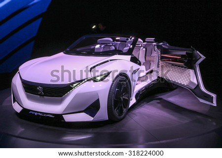 FRANKFURT - SEPT 16: Peugeot Fractal Concept shown at the 66th IAA (Internationale Automobil Ausstellung) on September 16, 2015 in Frankfurt, Germany.