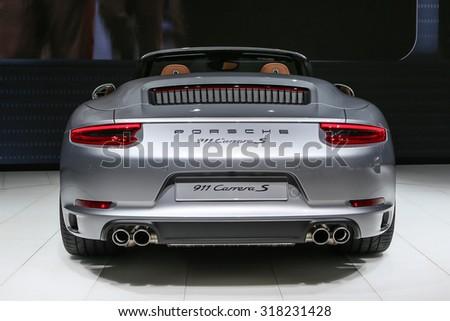 FRANKFURT - SEPT 16: Porsche 911 Carrera S Cabrio shown at the 66th IAA (Internationale Automobil Ausstellung) on September 16, 2015 in Frankfurt, Germany. - stock photo