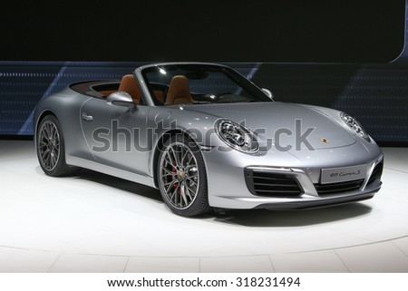 FRANKFURT - SEPT 16: Porsche 911 Carrera S Cabrio shown at the 66th IAA (Internationale Automobil Ausstellung) on September 16, 2015 in Frankfurt, Germany.