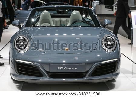 FRANKFURT - SEPT 16: Porsche 911 Carrera shown at the 66th IAA (Internationale Automobil Ausstellung) on September 16, 2015 in Frankfurt, Germany. - stock photo