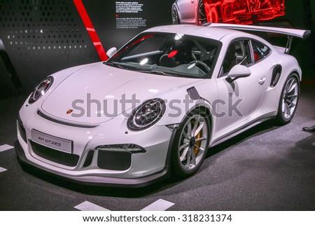 FRANKFURT - SEPT 16: Porsche 911 GT3 RS shown at the 66th IAA (Internationale Automobil Ausstellung) on September 16, 2015 in Frankfurt, Germany. - stock photo