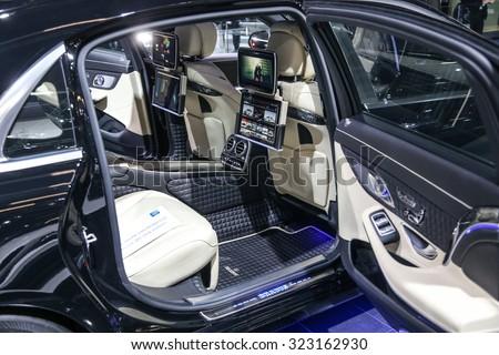 FRANKFURT - SEPT 16: Seat of Mercedes Brabus S-Class 900 shown at the 66th IAA (Internationale Automobil Ausstellung) on September 16, 2015 in Frankfurt, Germany. - stock photo